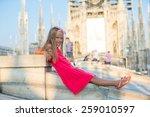 adorable little girl on the... | Shutterstock . vector #259010597