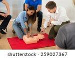 instructor demonstrating cpr...   Shutterstock . vector #259027367