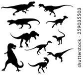set of the dinosaur silhouette  ...   Shutterstock .eps vector #259035503