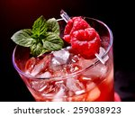 Cold Red Drink  With Raspberry...