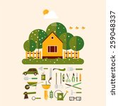Home Gardener And Set Icons...
