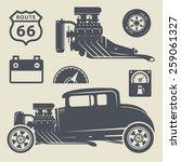 retro hot rod set  vector... | Shutterstock .eps vector #259061327