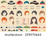 big vector set of dress up... | Shutterstock .eps vector #259070663