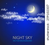 night sky with moon and clouds. ... | Shutterstock .eps vector #259102337