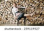 funny portrait of pretty girl...   Shutterstock . vector #259119527