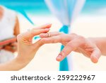 bride giving an engagement ring ... | Shutterstock . vector #259222967
