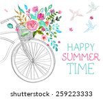 watercolor flowers and bicycle... | Shutterstock .eps vector #259223333