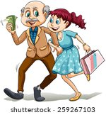 young lady with her sugar daddy ... | Shutterstock .eps vector #259267103