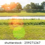 river flows green meadow land...   Shutterstock . vector #259271267
