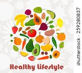 healthy lifestyle vector circle ... | Shutterstock .eps vector #259280837