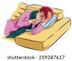 alone woman sick cold on sofa | Shutterstock .eps vector #259287617