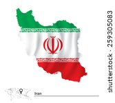 map of iran with flag   vector... | Shutterstock .eps vector #259305083