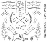 wedding hand drawn doodles... | Shutterstock .eps vector #259319183