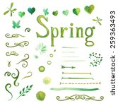 Set Of Watercolor Spring...