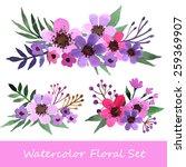 watercolor vector  set. floral... | Shutterstock .eps vector #259369907