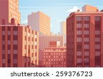 sunset cityscape. vector... | Shutterstock .eps vector #259376723
