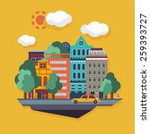 city  urban landscape. flat... | Shutterstock .eps vector #259393727