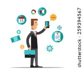 businessman using mobile phone... | Shutterstock .eps vector #259394567