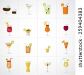 alcohol drinks and cocktails... | Shutterstock .eps vector #259404383