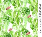 seamless watercolor cactus... | Shutterstock .eps vector #259434167
