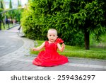 funny cute baby sitting in a...   Shutterstock . vector #259436297