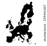 Black Map Of European Union On...