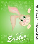 brown easter bunny looking out... | Shutterstock .eps vector #259485107