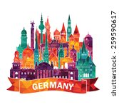 travel germany famous landmarks ... | Shutterstock .eps vector #259590617