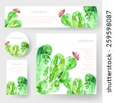Set Of Watercolor Cactus Tags...