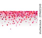 Stock vector white background with pink rose petals 259602143