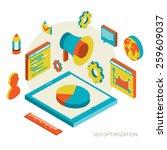 isometric  background seo... | Shutterstock .eps vector #259609037