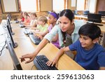cute pupils in computer class... | Shutterstock . vector #259613063