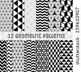 set of 12 seamless geometric... | Shutterstock .eps vector #259633907