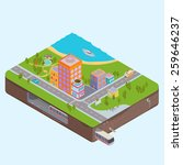 isometric city center map with... | Shutterstock .eps vector #259646237