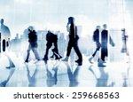 business people phone walking... | Shutterstock . vector #259668563