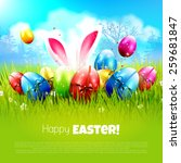 sweet easter greeting card with ... | Shutterstock .eps vector #259681847