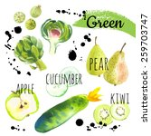 fresh organic food. set of... | Shutterstock .eps vector #259703747