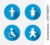 wc toilet icons. human male or... | Shutterstock .eps vector #259708097