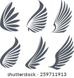 set of 6 vector wings. | Shutterstock .eps vector #259711913