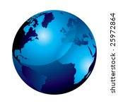 blue gel marble world icon with ... | Shutterstock . vector #25972864