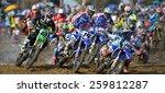 Постер, плакат: Motocross riders perform on