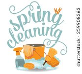 spring cleaning cheerful flat... | Shutterstock .eps vector #259908263
