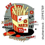 french fries in a cartoon style | Shutterstock .eps vector #25993789