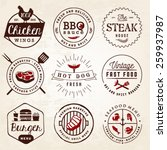 grill  barbecue  burger  hot... | Shutterstock .eps vector #259937987