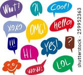 colorful questions speech... | Shutterstock .eps vector #259952363