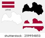 latvia map and flag vector ... | Shutterstock .eps vector #259954853
