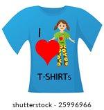 t shirt with girl having a... | Shutterstock . vector #25996966
