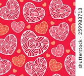 Seamless pattern with ornate hearts