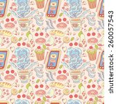 seamless tea and sweets pattern. | Shutterstock . vector #260057543