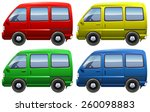 set of colourful vans on a... | Shutterstock .eps vector #260098883